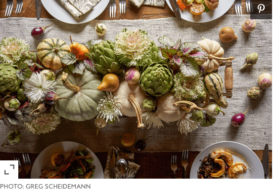 Thanksgiving Tablescape Centerpiece Using Flowers and Produce Dallas, Texas