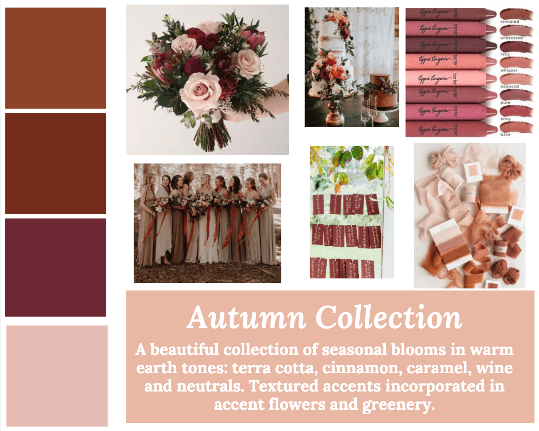 Fall Wedding Color Palette Inspiration Mood Board for Dallas Wedding Flowers