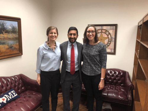 (left to right) Alexis Taylor, Eiman Siddiqui, and Madeline Krebs at the Capitol to testify on HB 278, a bill to provide high school students more information about different colleges and majors in Texas