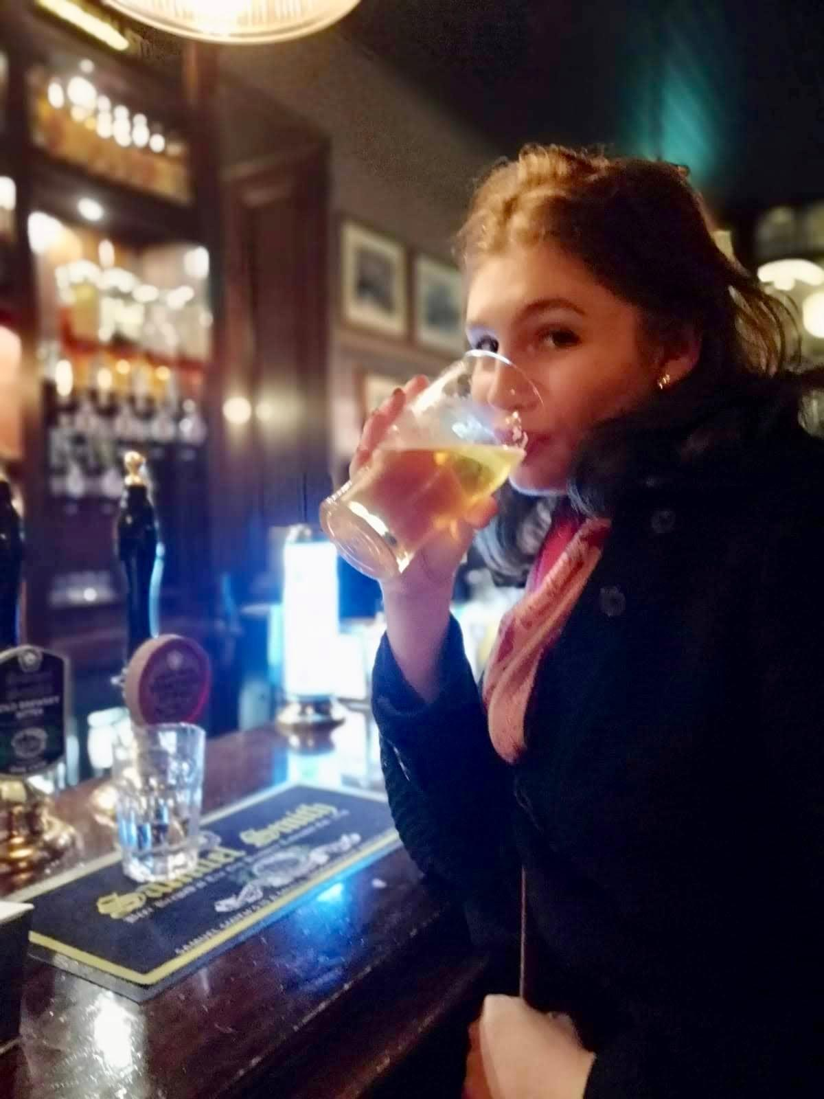 Me drinking a cider at the Fitzroy Tavern--a place George Orwell used to frequent in London.