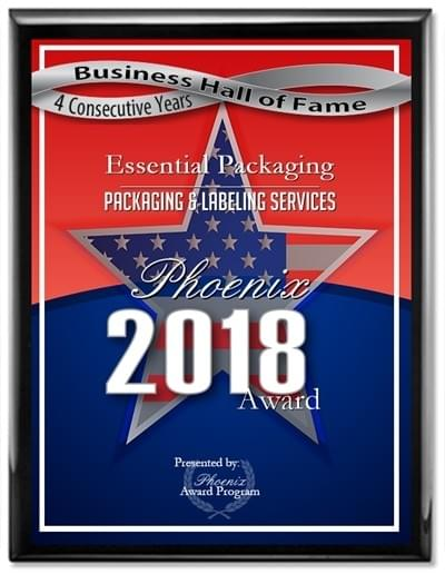 Essential Packaging inducted into the Phoenix Award Hall of Fame 2016 for excellence in Packaging & Labeling Service.