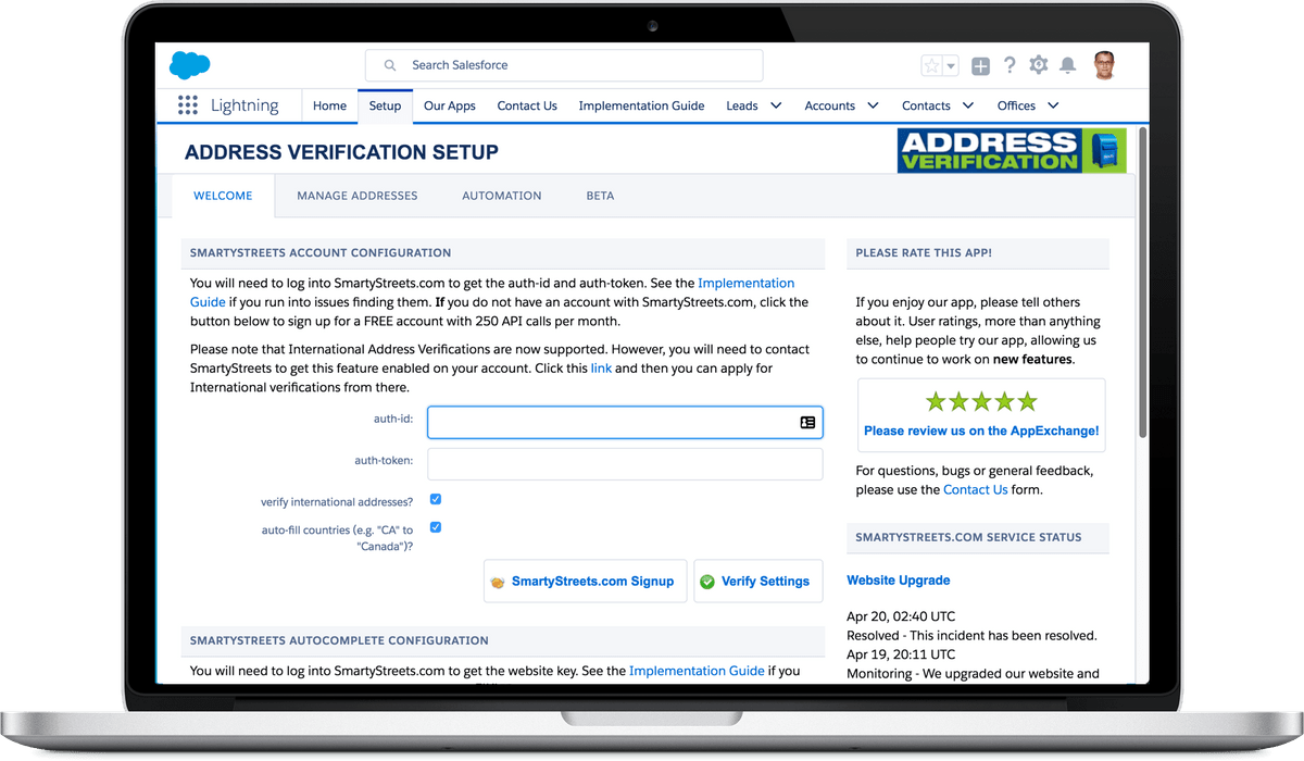 Address Verification for Salesforce