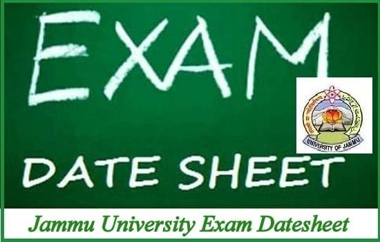 Jammu University date sheet 2018, Exam date sheet, Exam Routine