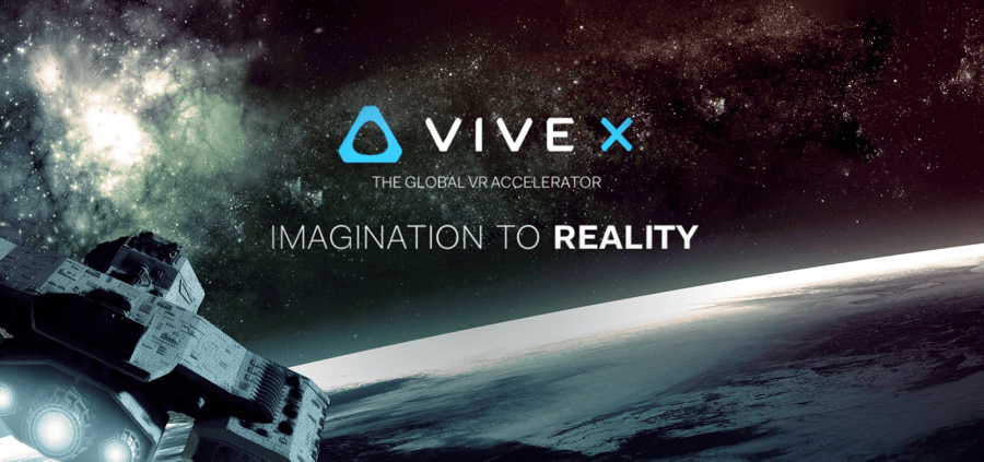 An image of spaceship exploring the universe, displaying VIVE X in the middle