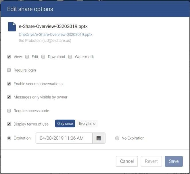 e-Share blog | screenshot showing new secure conversation policy options for trusted sharing