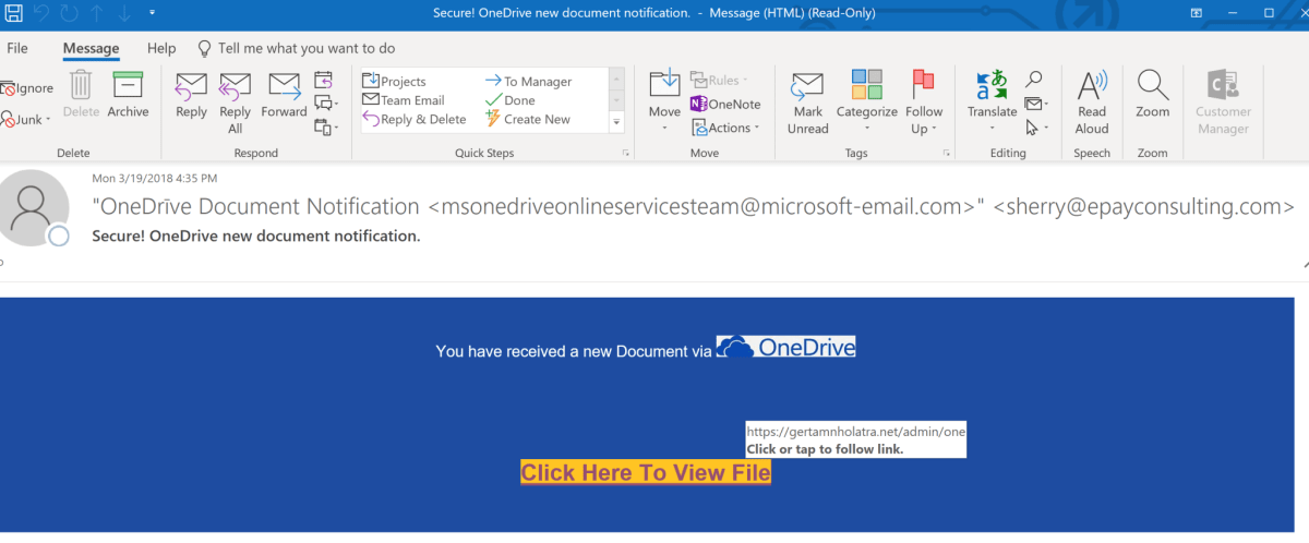e-Share Blog | an example of a phishing email targeting Microsoft OneDrive user