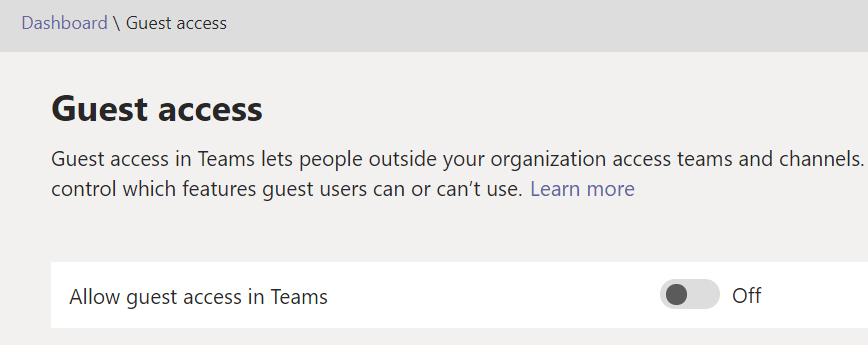 e-Share Blog | Microsoft Teams admin portal screen shot showing guest access disabled