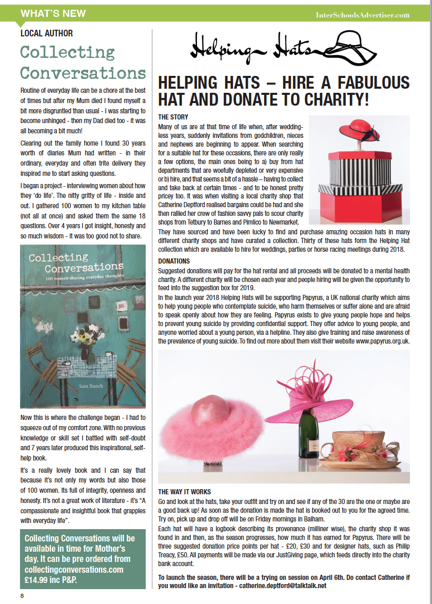 local london helping hats charity donate hire story