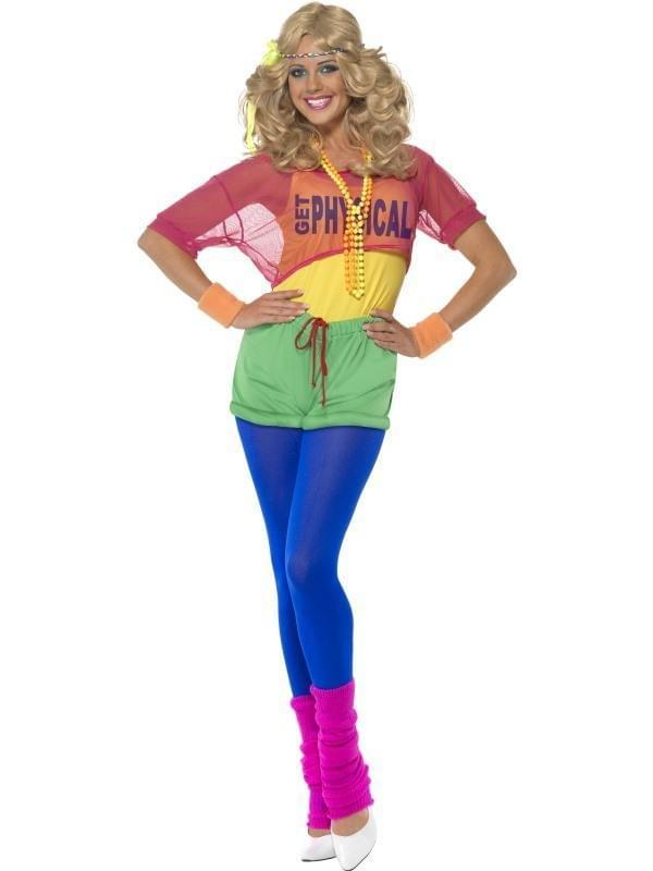 Ladies 80s Pop Tart Costume Adults Neon Retro Fancy Dress Womens Outfit