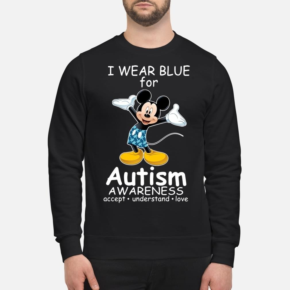 Mickey Mouse I wear blue for autism love kid shirt
