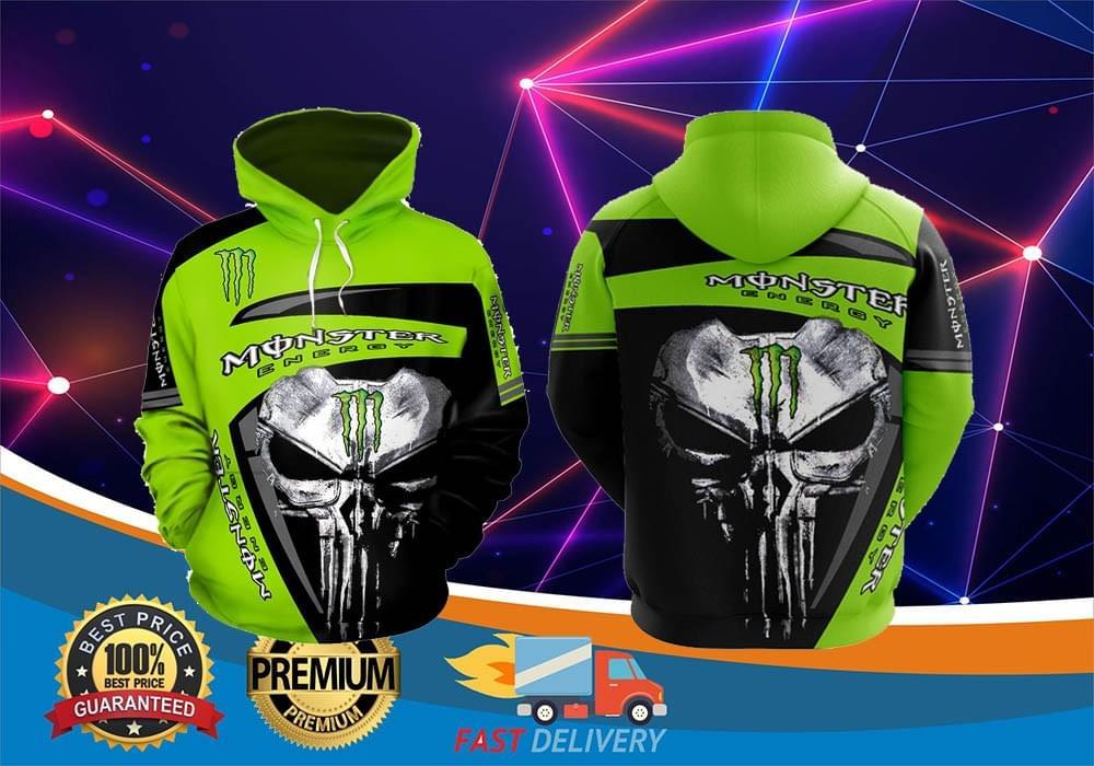 [LIMITED] Skull monster energy 3d hoodie