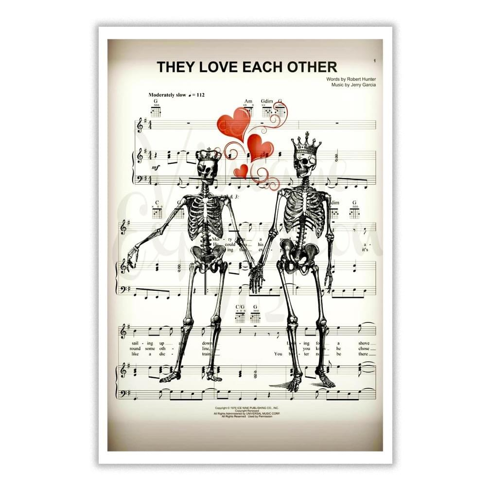 Official Grateful Dead Song Lyrics Poster They Love Each Other