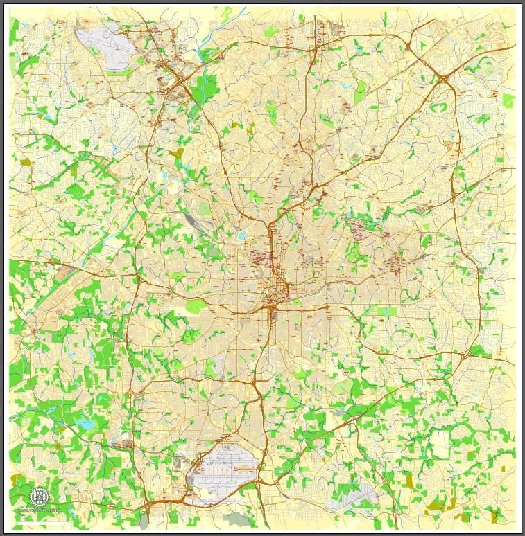 Map Of Georgia Cities Around Atlanta.Atlanta Printable And Editable Maps Georgia