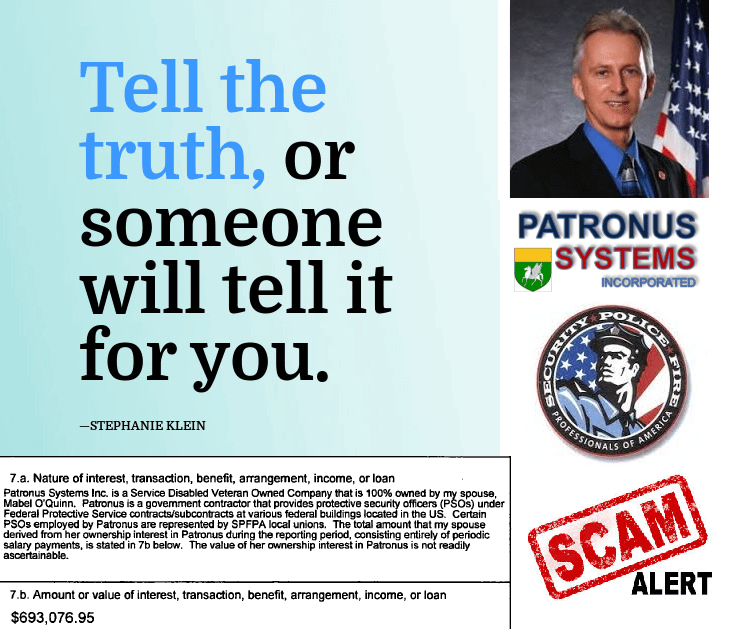 SPFPA Patronus Systems Inc Scam Alert - SPFPA Vice President Rick O'Quinn Tell the Truth, or Someone will tell it for you