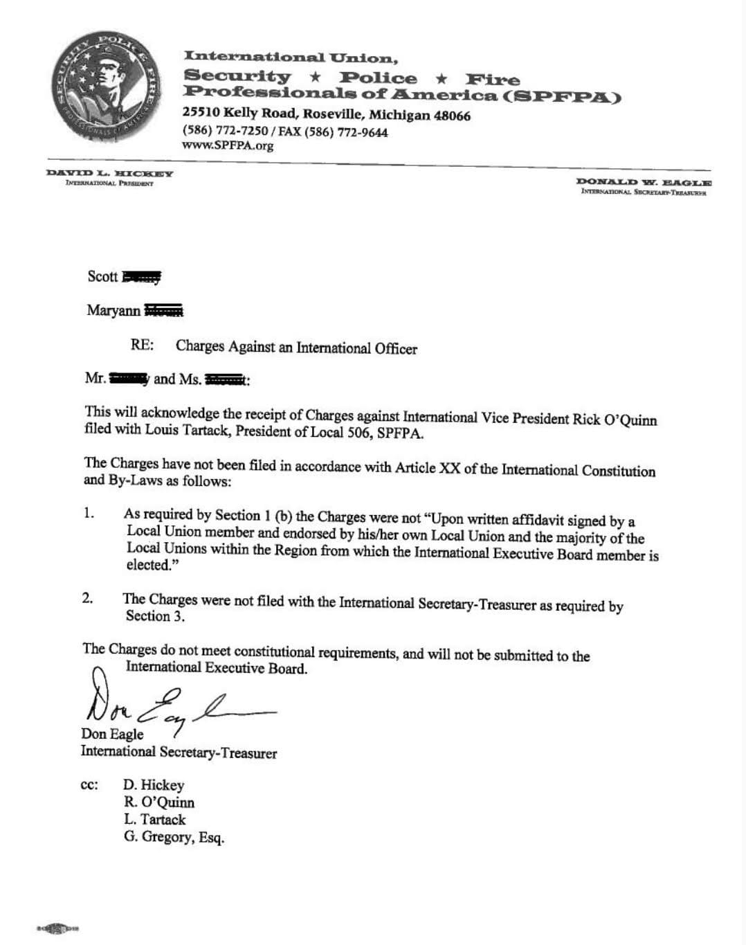 SPFPA Response to the Local 506 Charges Against SPFPA VP Rick O'Quinn