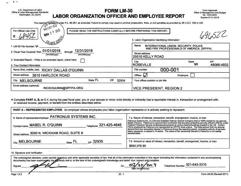 Department of Labor LM-30 - 2018 Filings By SPFPA Clearly Show the Conflict of Interest Relationship Between SPFPA Region 2 Vice President Rick O'Quinn & his Wife Mabel O'Quinn Owner of Patronus Systems Inc a Security Company