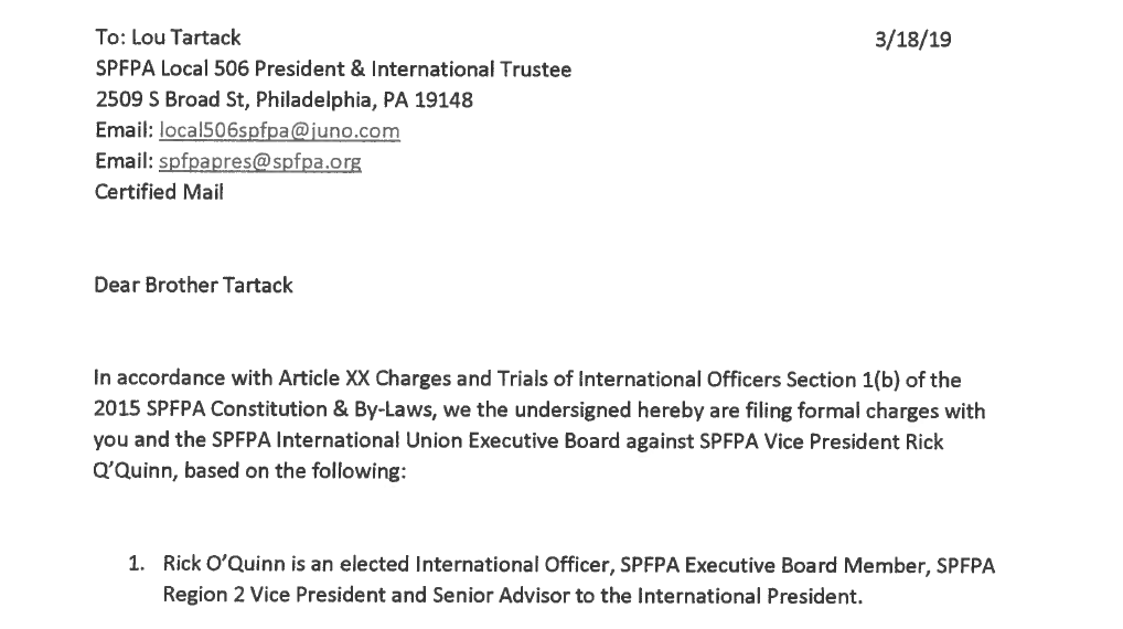 SPFPA LOCAL 502 RICK O'QUINN PATRONUS SYSTEMS INC CONFLICT OF INTEREST CHARGES