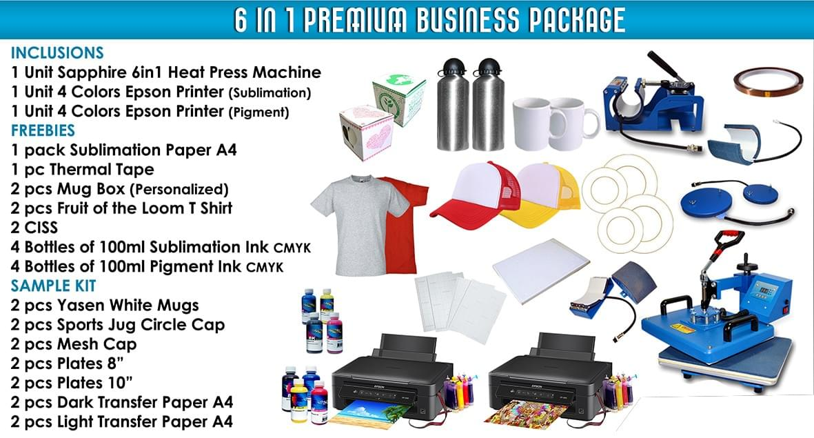 6 in 1 Multifunction Heat Press Machine Printing Package, 6 in 1 Printing Business Package