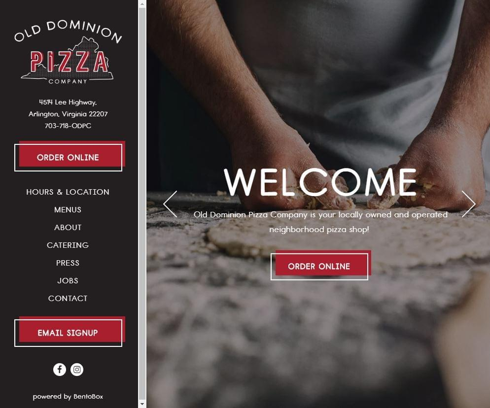 Old Dominion Pizza Company website home page