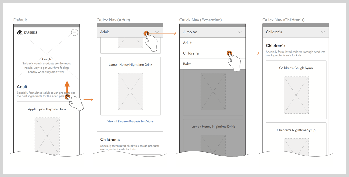 Example Wireframe Screens