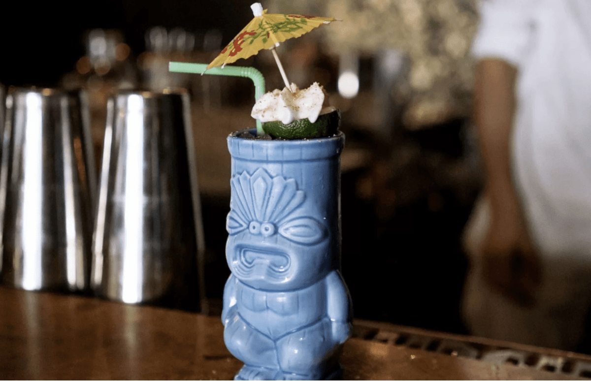 test pilot cocktail in tiki glass