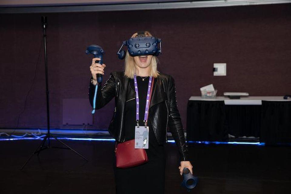 Researcher Anna Faltin from Brussels checks out the new Vive Pro at AWE 18. Michael O'Donnell for AWE USA 2018