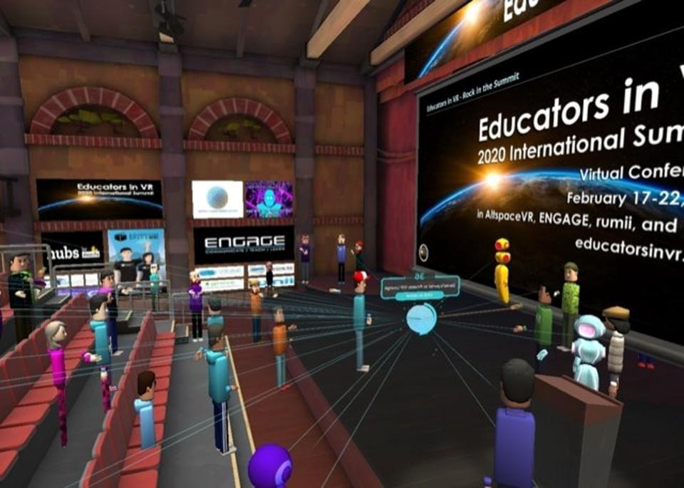 Educators in VR summit took place in AltSpaceVR, a virtual world Microsoft rescued out of bankruptcy in late 2018. EDUCATORS IN VR