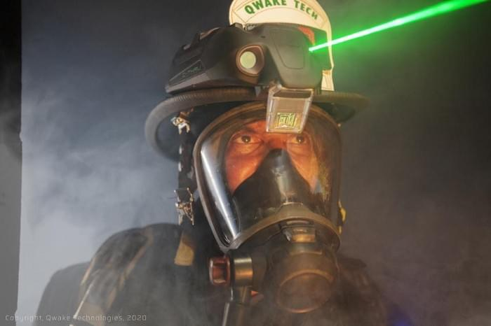 Firefighter guided by AR HMD from Quake Technologies. Qwake Technologies