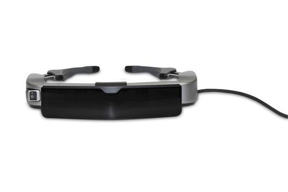 The a sunglass clip the Moverio BT-350 can be used in daylight, a common problem for AR. EPSON