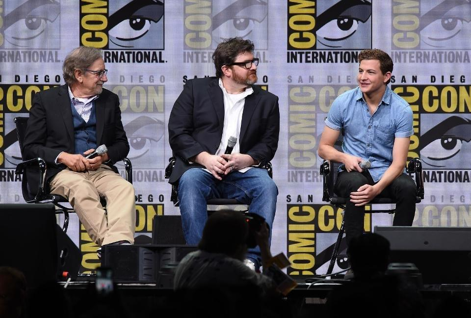 SAN DIEGO, CA — JULY 22: (L-R) Director Steven Spielberg, writer Ernest Cline and actor Tye Sheridan attend the Warner Bros. Pictures 'Ready Player One' Presentation during Comic-Con International 2017 at San Diego Convention Center on July 22, 2017 in San Diego, California. (Photo by Kevin Winter/Getty Images)
