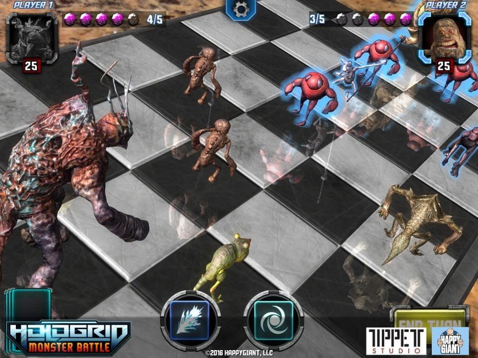 Turned based strategy game Hologrid Monster features characters developed by Phil Tippett.