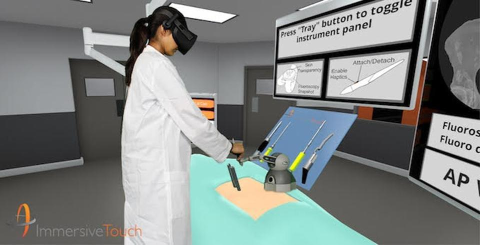 Immersive Touch uses Vive headsets and robotics from 3D Systems to create hapitcal (touch) feedback to train surgeons and plan patient specific procedures.