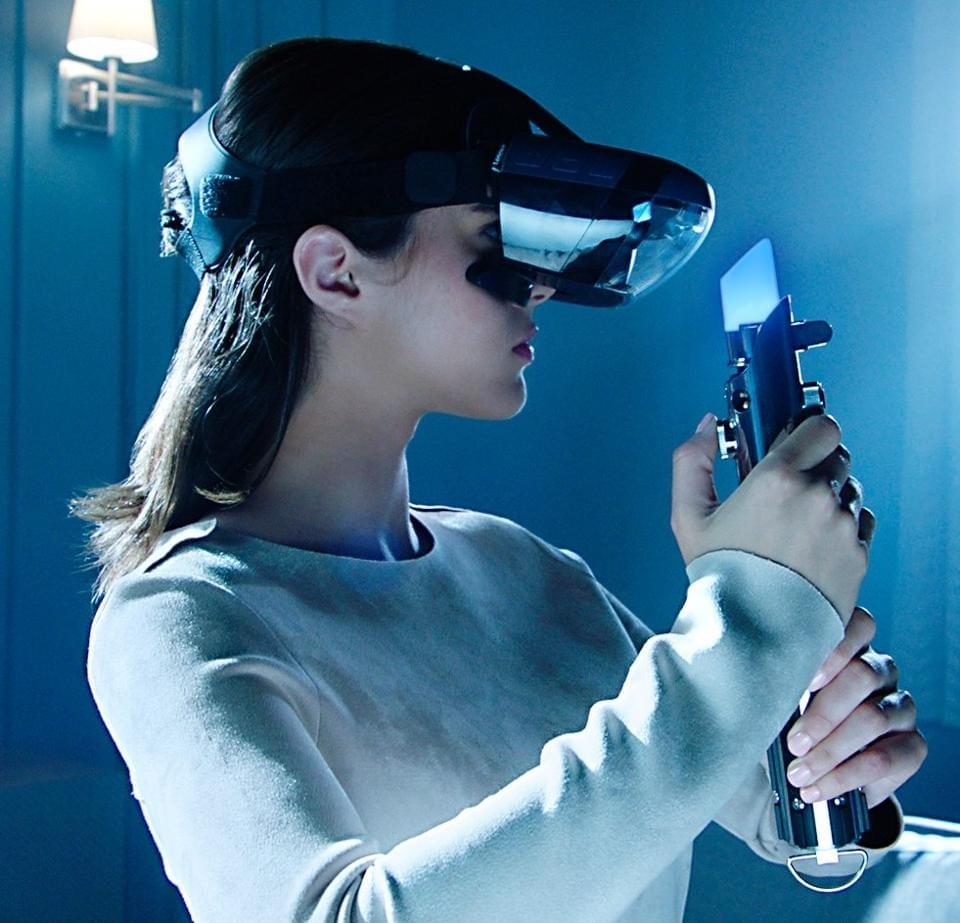 This Christmas, it will be raining headsets, including this phone powered Disney/Lenovo AR headset, here with Bluetooth peripheral Light Saber.