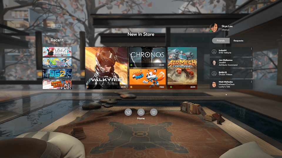 Oculus' landing page is like your Facebook page. Note friends list. You can configure your home screen, or room, as you like, and control who can enter. On Sansar, you could even charge them to come in.