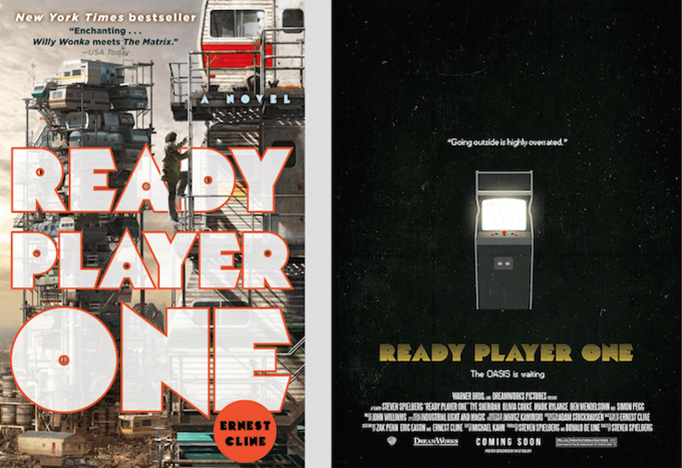 "The book (cover, on left above) was a best seller in 2011. Along with Neil Stephenson's ""Snowcrash"", which introduced the idea of a digital metaverse, ""Ready Player One"" is now a must-read for anyone interested in Virtual Reality. The highly anticipated movie has fans excited enough to make their own fan art. Movie poster on right is by Kyle Bailey."
