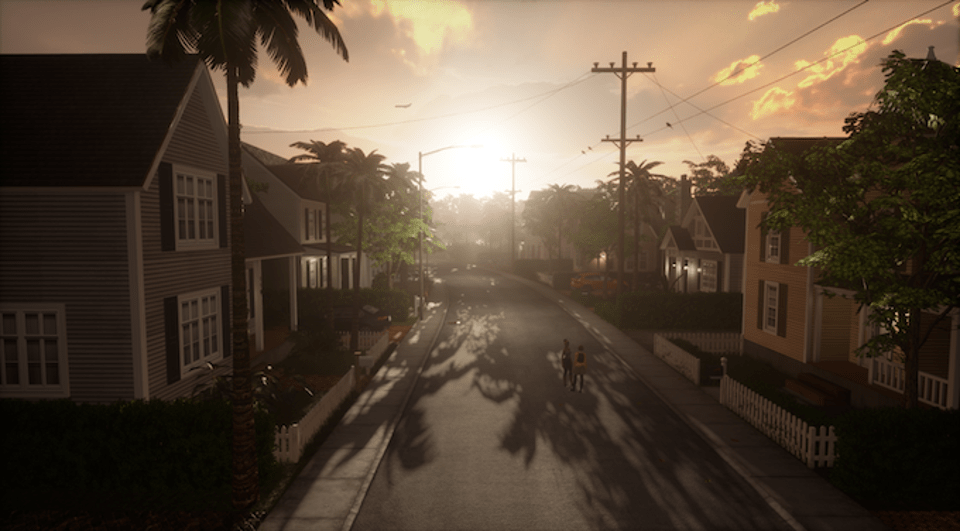 Incredible realism and detail characterizes this virtual suburb. Look at the attention to detail. You can see a distant plane in the sky. You can ride a bike around time, go into the houses, and interact with objects inside.