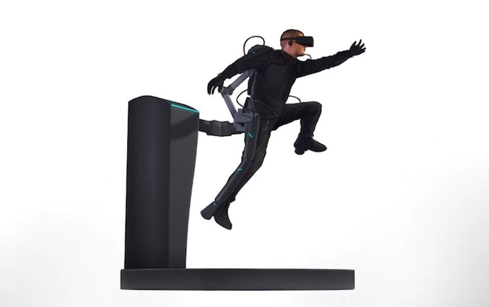 Full body immersion rig imagined by Axon VR of Seattle. Axon, as well as many others, are working on haptic gloves, which we may see commercially in 2018.