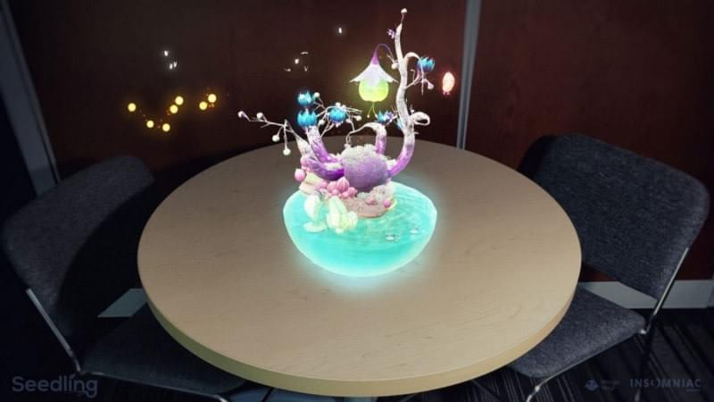 """Seedling."" Insomniac Games' experience for the Magic Leap One allows users to nurture an alien seed to life form in their own living room, or anywhere."