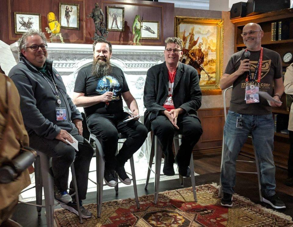 "Panel presentation of ""Dr. Grordbort's Invaders"" at LeapCon 2018. From L to R, Rony Abovitz, Greg Broadmire, and Richard Taylor."