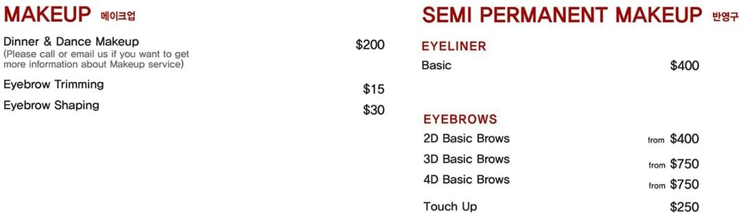 Prices for makeup, semi permanent makeup, and eyebrow trimming vary from $15 to $750 at Leekaja Beauty Salon in Singapore