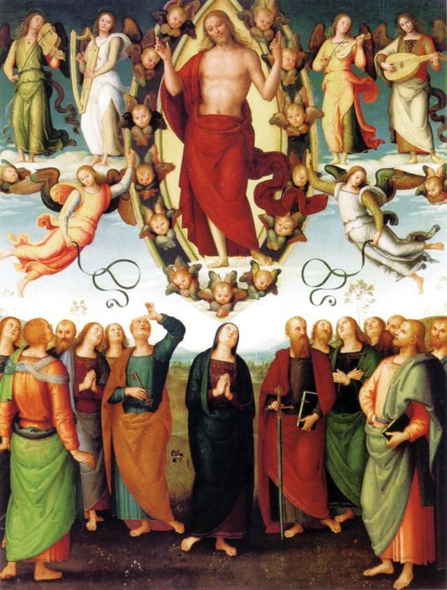 """Pietro di Cristoforo Vannucci zwany Perugino był takim człowiekiem. Jezus powiedział: """"Uczcie je (narody) zachowywać wszystko, co wam przykazałem"""" (Mt 28, 19), a także nauczał, by jedni drugim nawzajem pomagali nosić swe ciężary i by jedni drugim wzajemnie nogi umywali. Czy Perugino, który docenił sztukę swego ucznia, a co więcej po jego śmierci sam dokończył rozpoczęte przez niego dzieło, nie jest potwierdzeniem tych słów?   Perugino prowadził własną szkołę malarstwa, miał wielu uczniów, którzy później zasłynęli wielkimi dziełami. Sam mistrz Perugino pozostawił po sobie bogaty i zróżnicowany dorobek, w którym przeważała tematyka religijna. Tworzył obrazy realistyczne zabarwiane sentymentalną pobożnością. Wielu malarzy wzorowało się na nim, wręcz kopiowało układ postaci typowych dla jego stylu. Był wybitnym przedstawicielem szkoły umbryjskiej, a mimo to Michał Anioł nazwał go """"goffo nell arte"""", czyli niezdarny w sztuce. Perugino poczuł się dotknięty tymi słowami, ale obeszło się bez procesu o zniesławienie. Do najwybitniejszych dzieł Perugina należy fresk """"Wręczenie kluczy Świętemu Piotrowi"""" znajdujący się w Kaplicy Sykstyńskiej.   """"Potem wyprowadził ich ku Betanii i podniósłszy ręce błogosławił ich. A kiedy ich błogosławił, rozstał się z nimi i został uniesiony do nieba"""" (Łk 24, 50 – 51).  To właśnie tym słowom Perugino był wierny malując scenę wniebowstąpienia. Obraz, który dzisiaj można podziwiać w Muzeum Miejskim Sztuk Pięknych w Lyonie pierwotnie był centralną częścią poliptyku w kościele San Pietro w Perugii. Pozostałe części zaginęły. Obraz został namalowany na desce w latach 1496  -  1498. Jego autor wbrew ówczesnym kanonom stylu renesansowego podzielił obraz ma dwa plany. Było to rzeczą nową, ale nadało obrazowi jeszcze większej głębi przesłania. Pierwszy plan stanowią bowiem apostołowie z barwnym orszakiem Chrystusa. Na drugim planie widzimy wzgórza, które tworzą tło pejzażu sprawiając wrażenie jakby były ich dziesiątki kilometrów, które łączą się z bezkre"""
