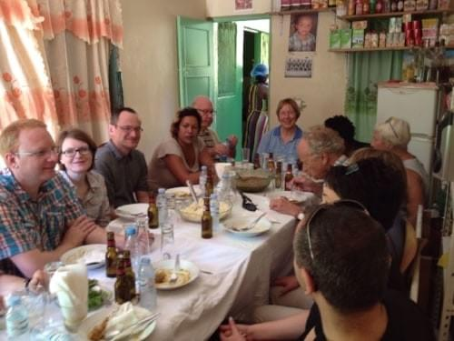 Group of tourists visiting Sonvela Arte and enjoing a meal at Filo's