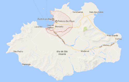 Map of Mindelo, Cape Verde