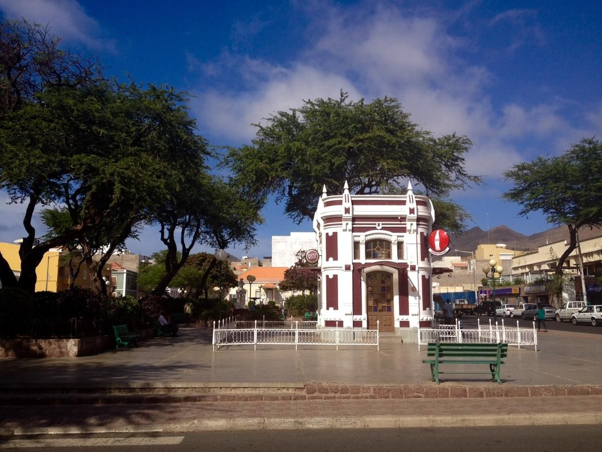The iconic Praça Nova Kiosk in the city centre of Mindelo, Cape Verde