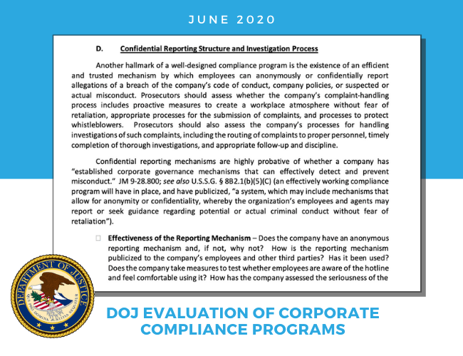 Snapshot of Section D of the DOJ's 2020 Guidance Document