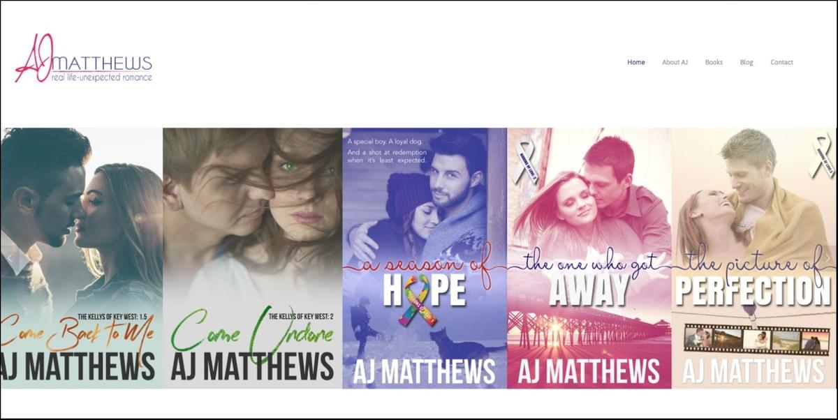 custom author website for aj matthews
