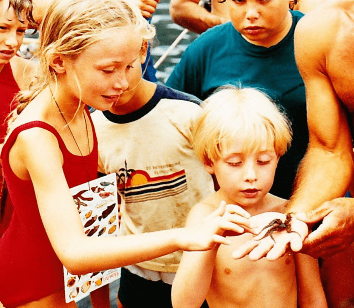 My brother @pcousteau and I were always front and center when it was time to touch the sea creatures. I had my fish guide close at hand (i.e. around my neck) for ease of reference but I knew them all by heart. Some of the kids called me nerdy but that's just another word for passionate. 😉