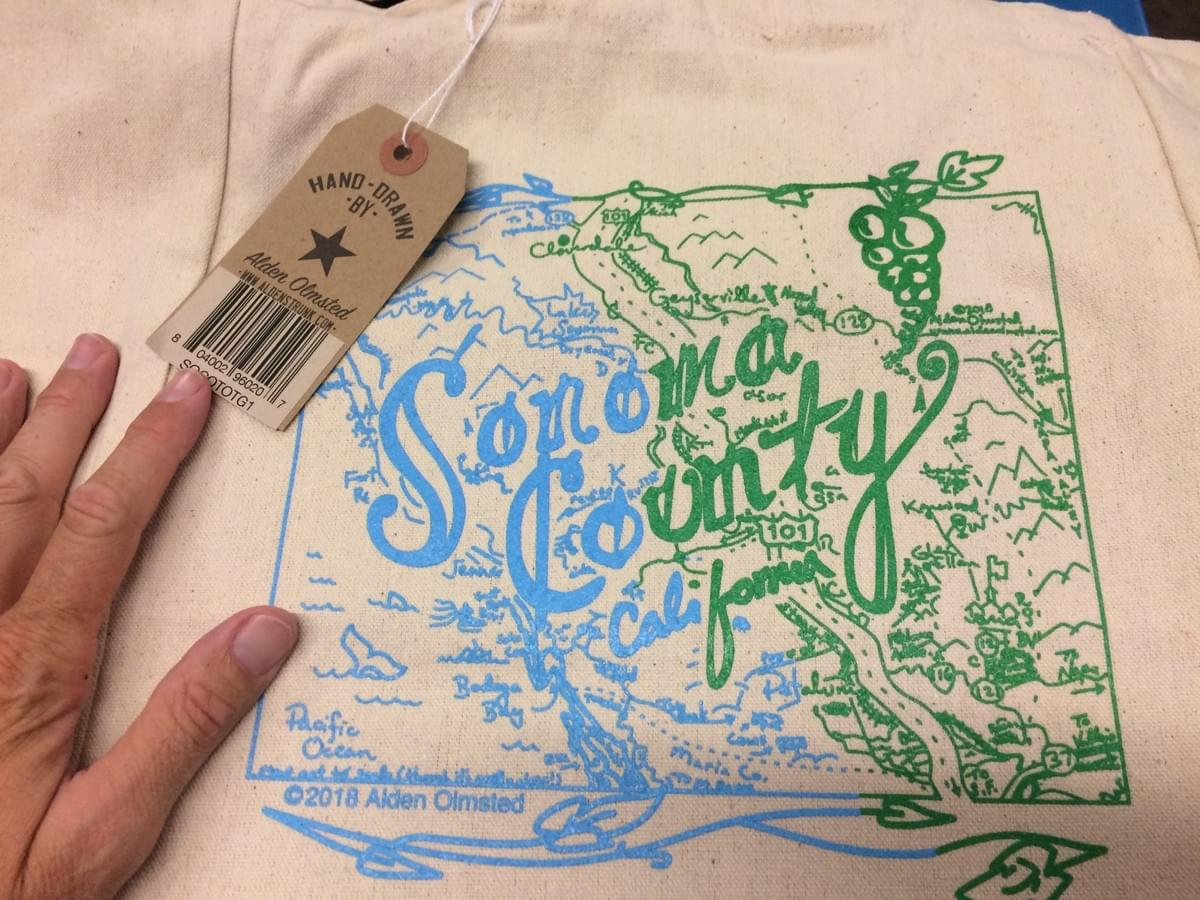 Sonoma County cotton tote bag for sale in Nugget Markets Sonoma Market Sonoma, CA ©2018 Alden Olmsted
