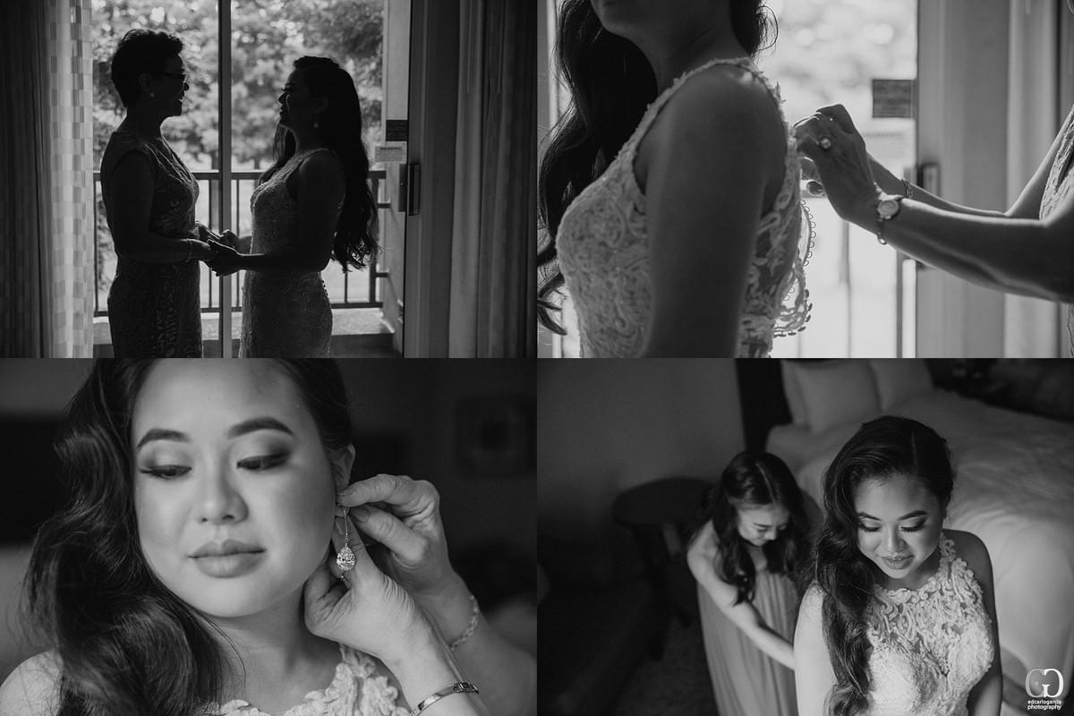 bridges golf club wedding san ramon photographer getting ready marriot bride  with mom putting on her earings and her dress black and white  filipino cambodian wedding