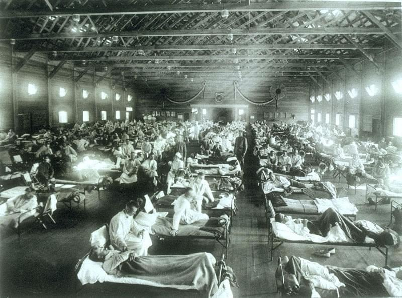 Emergency hospital during Influenza epidemic, Camp Funston, Kansas.  Source: Otis Historical Archives Nat'l Museum of Health & Medicine NCP 1603.